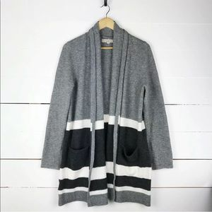 Ann Taylor loft striped colorblock cardigan